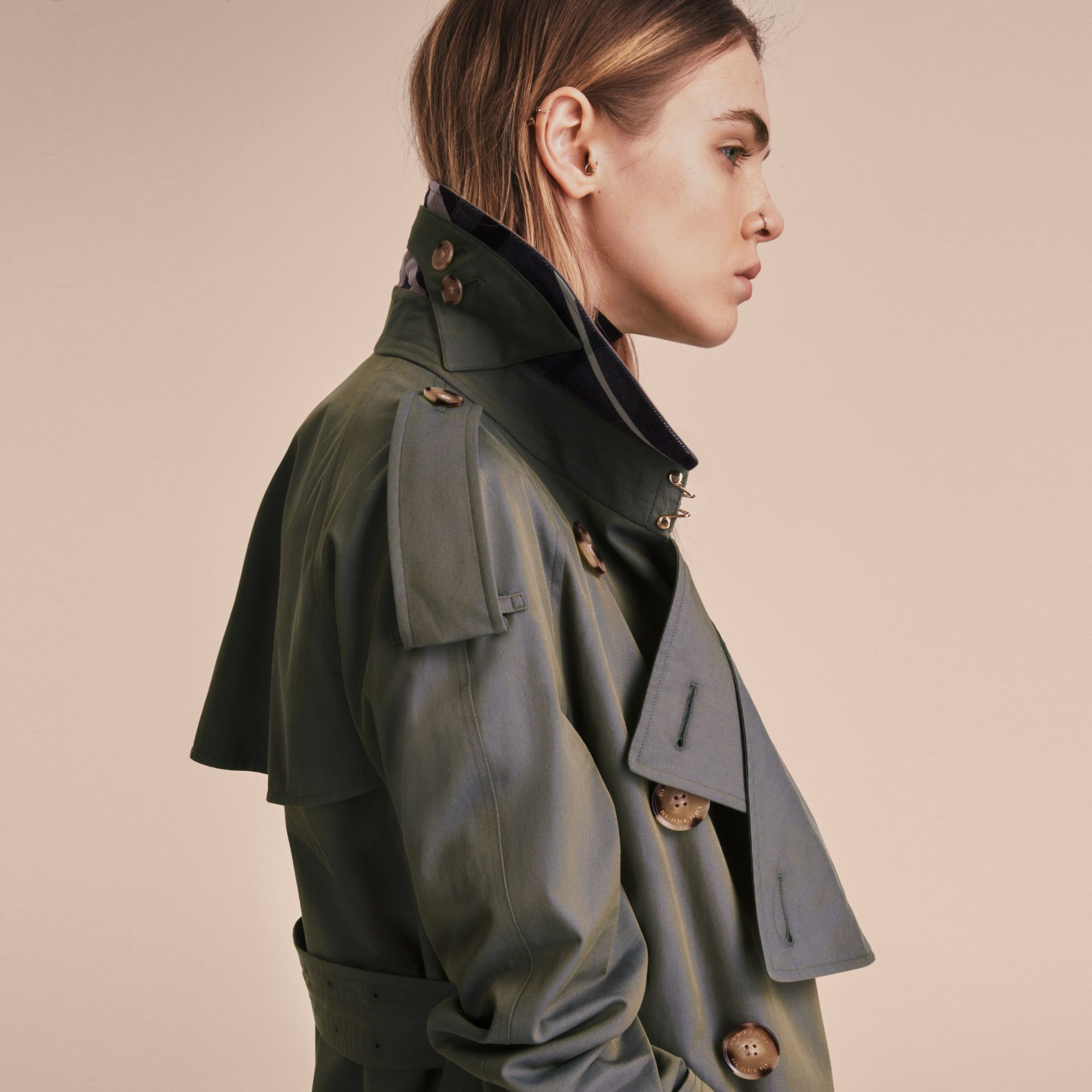 Storm blue Tropical Gabardine Trench Coat - gallery image 7