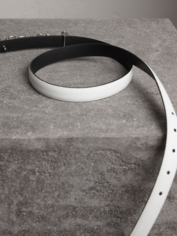 Doodle Detail Reversible Leather Belt in White/black - Women | Burberry United Kingdom - cell image 3