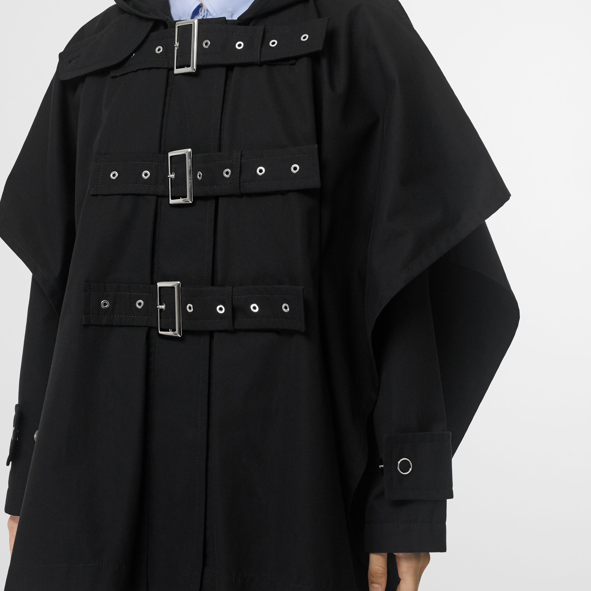 Triple Buckle Cotton Gabardine Cape Coat in Black | Burberry - gallery image 4