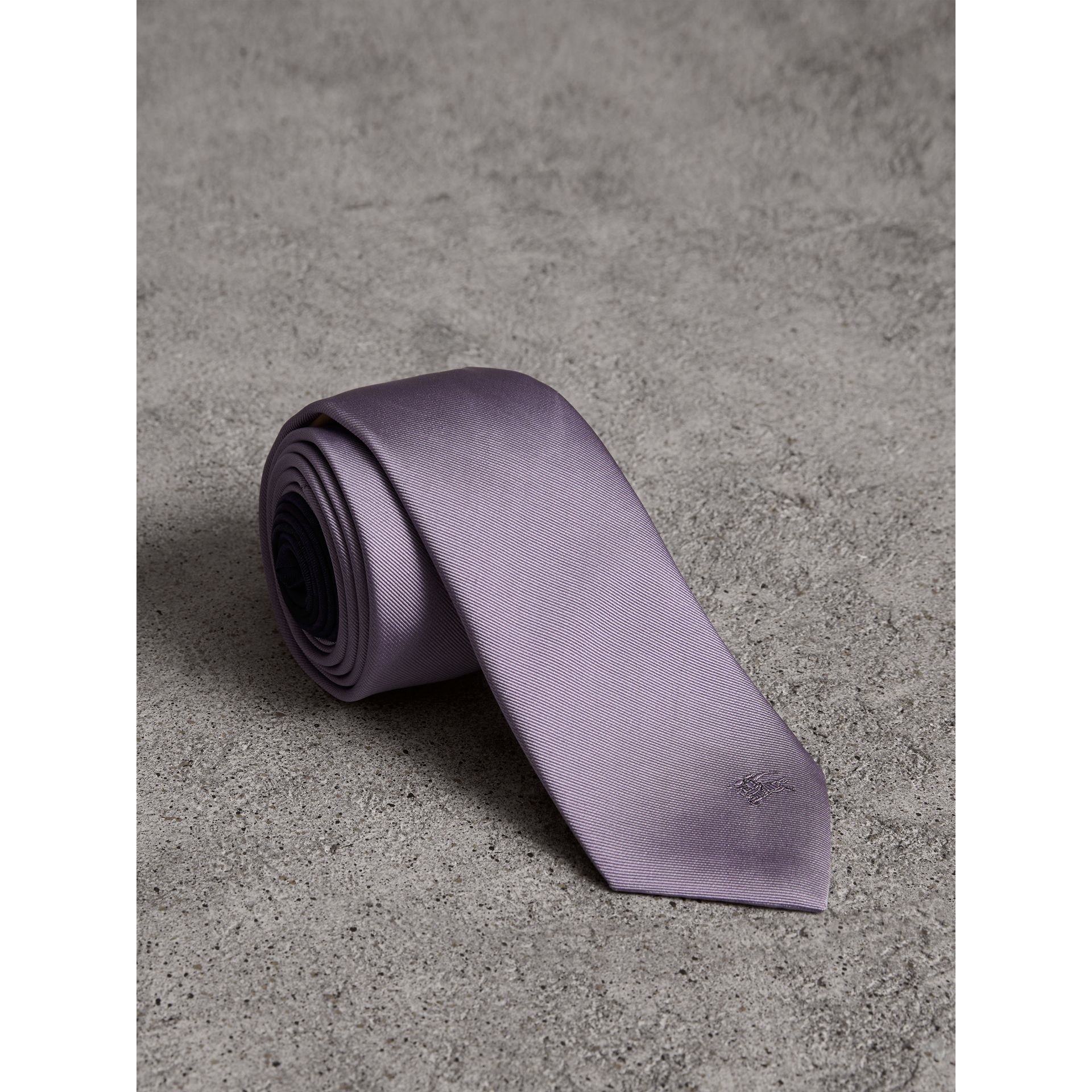 Slim Cut Check Silk Twill Tie in Lilac - Men | Burberry - gallery image 0