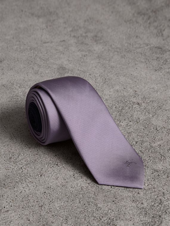 Slim Cut Check Silk Twill Tie in Lilac