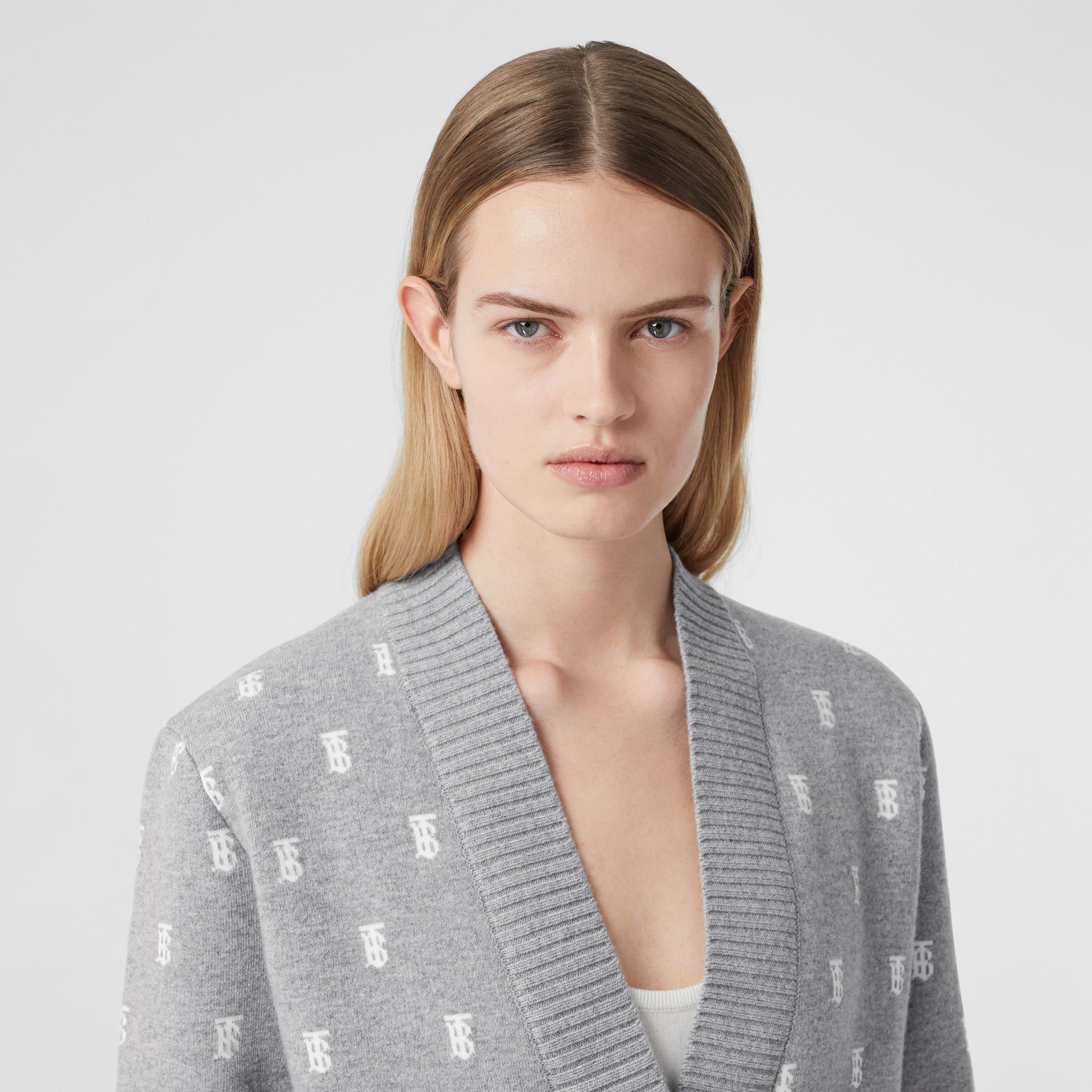 Monogram Wool Cashmere Blend Oversized Cardigan in Mid Grey Melange - Women | Burberry - gallery image 5