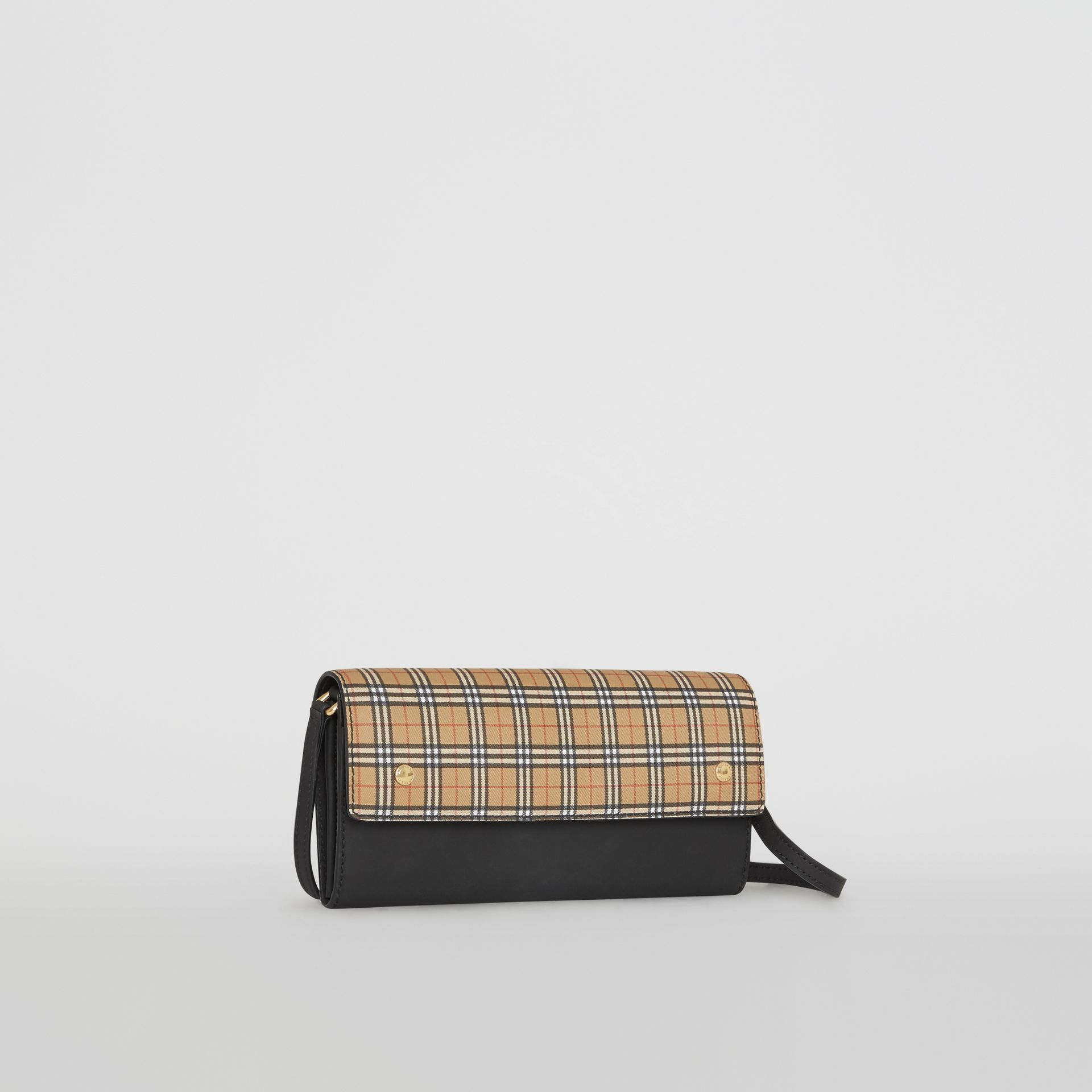 Small Scale Check Wallet with Detachable Strap in Antique Yellow - Women | Burberry - gallery image 5