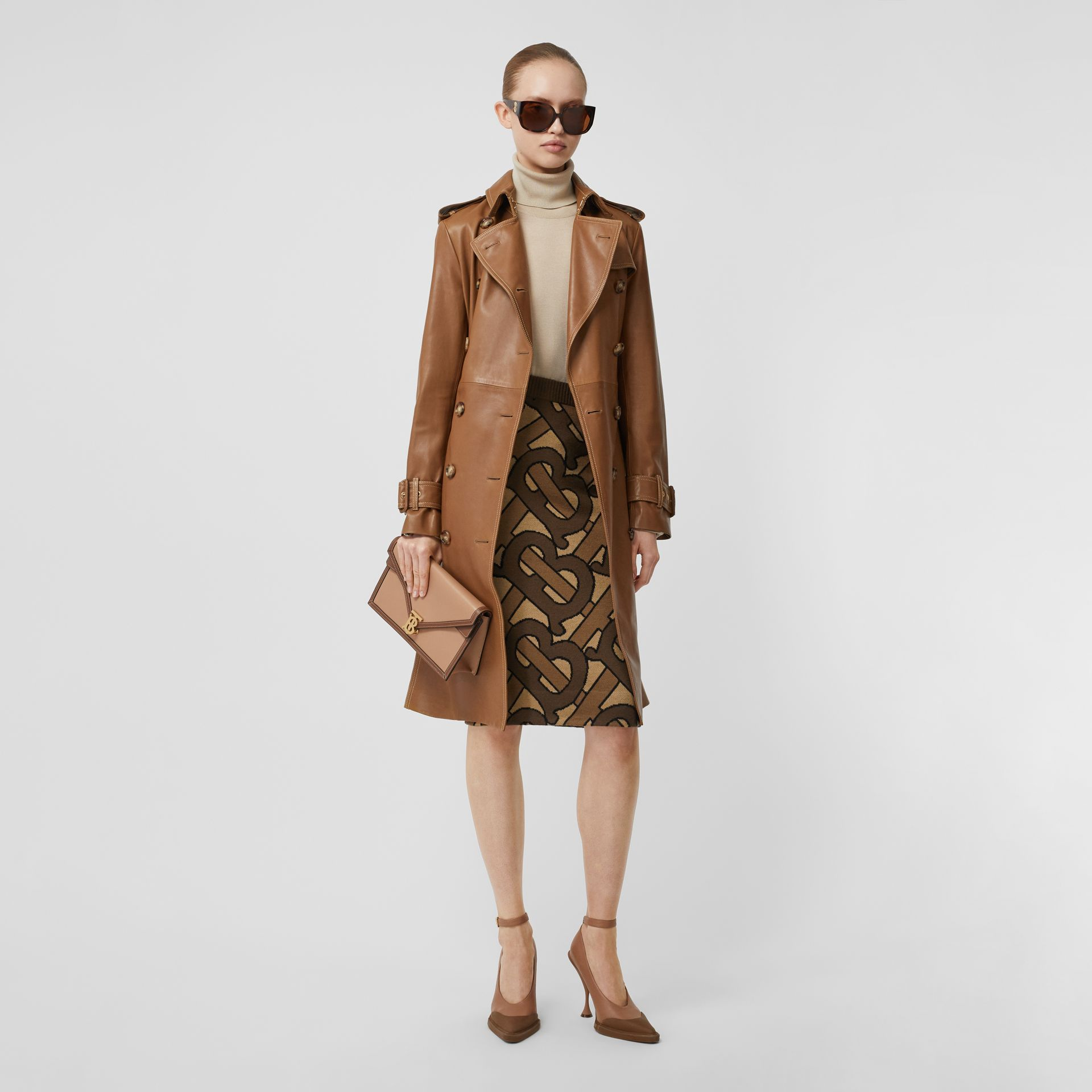 Monogram Intarsia Wool Pencil Skirt in Bridle Brown - Women | Burberry - gallery image 6