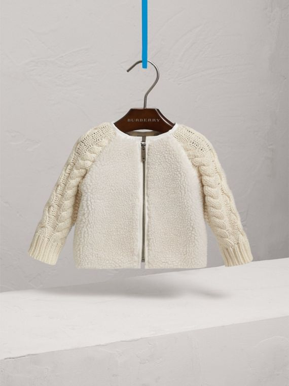 Cable Knit Wool Cashmere and Faux Shearling Jacket in Natural White | Burberry - cell image 2