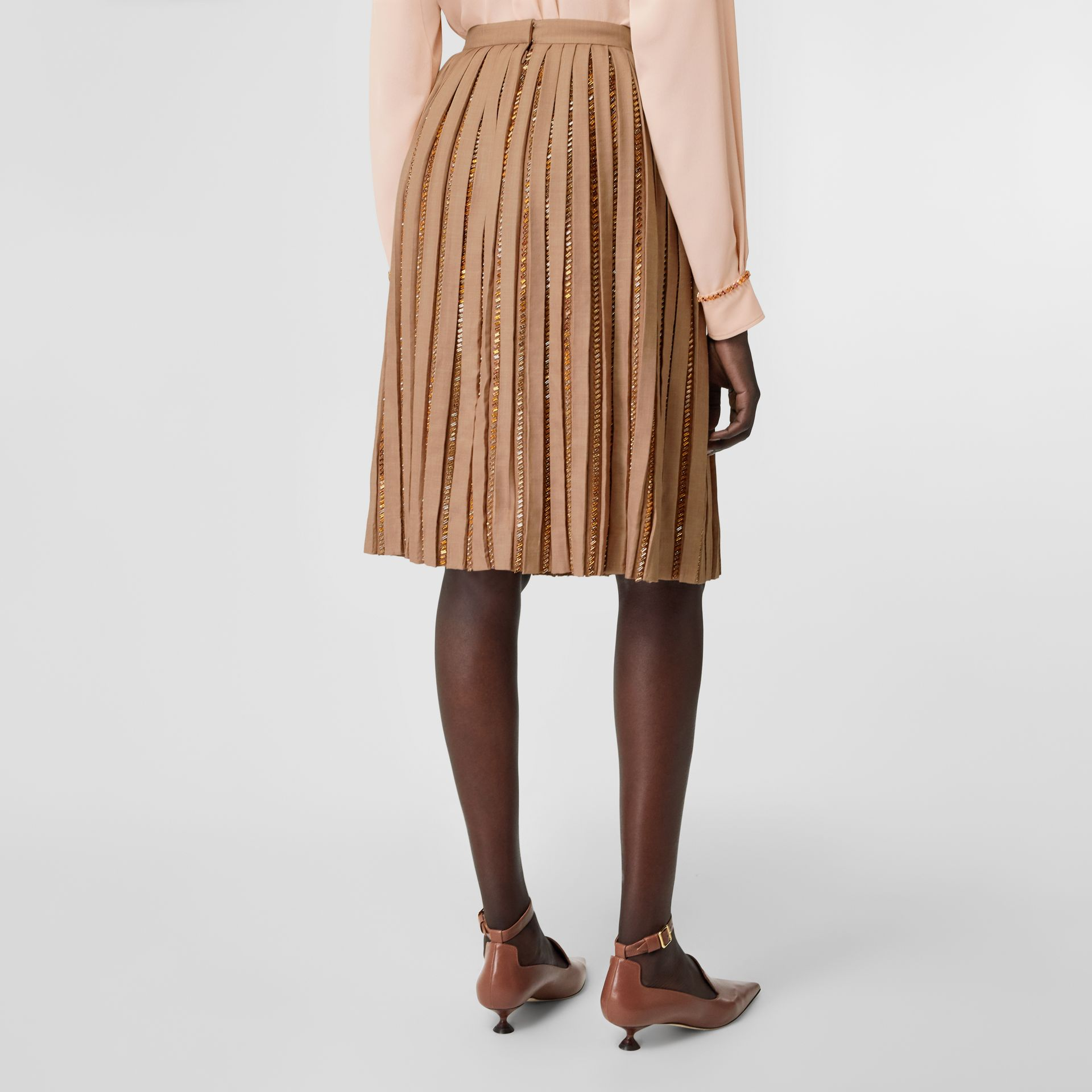 Crystal Detail Plissé Soleil Wool Silk Blend Skirt in Biscuit - Women | Burberry - gallery image 2