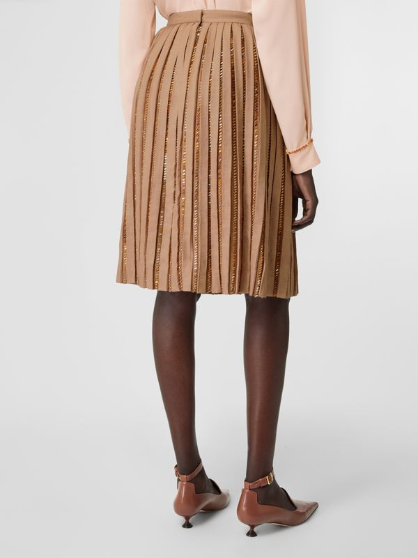 Crystal Detail Plissé Soleil Wool Silk Blend Skirt in Biscuit - Women | Burberry - cell image 2