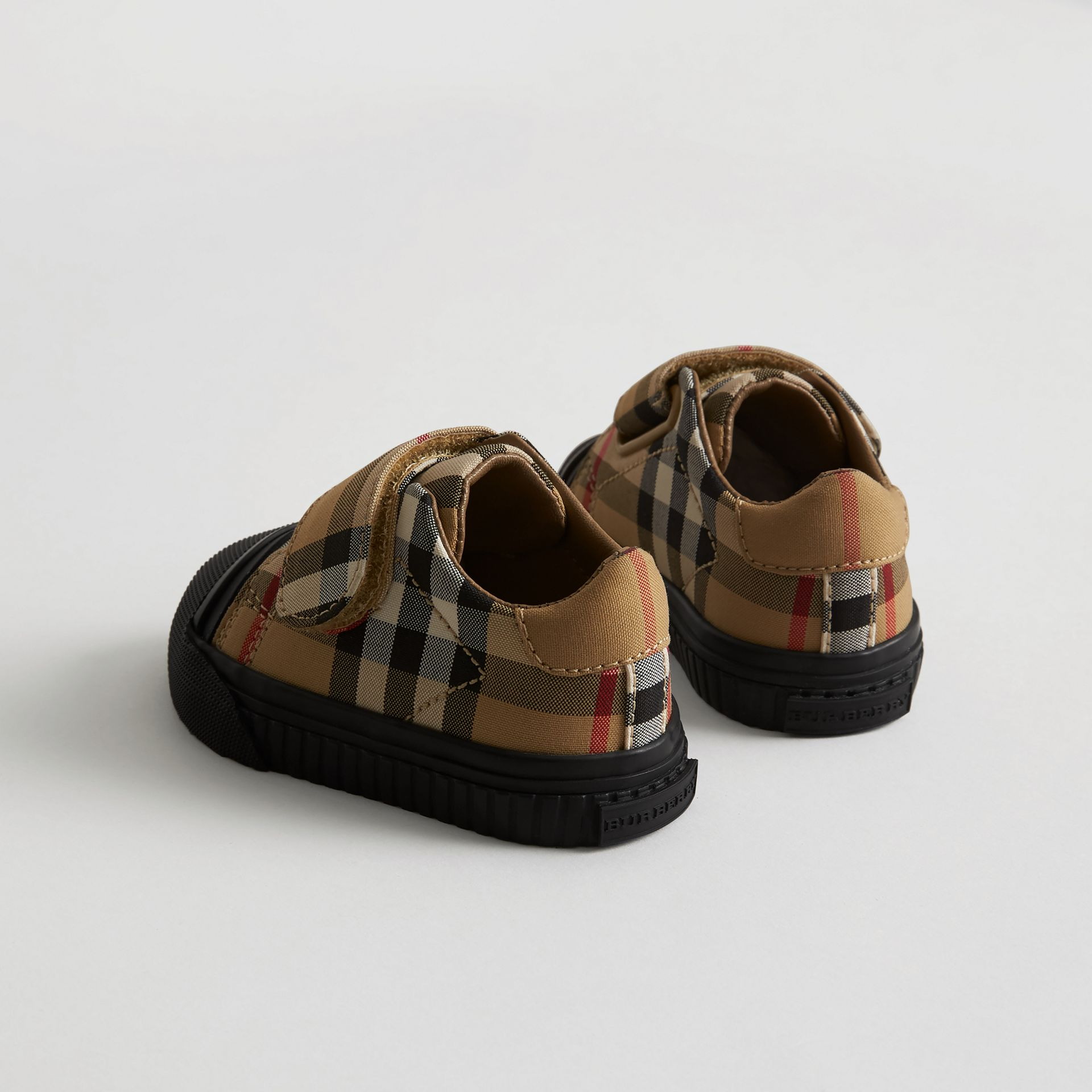 Vintage Check and Leather Sneakers in Antique Yellow/black - Children | Burberry United Kingdom - gallery image 2