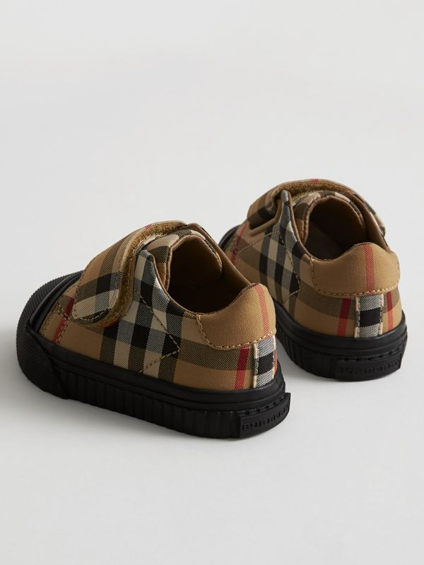 Vintage Check and Leather Sneakers in Antique Yellow/black - Children | Burberry - cell image 2