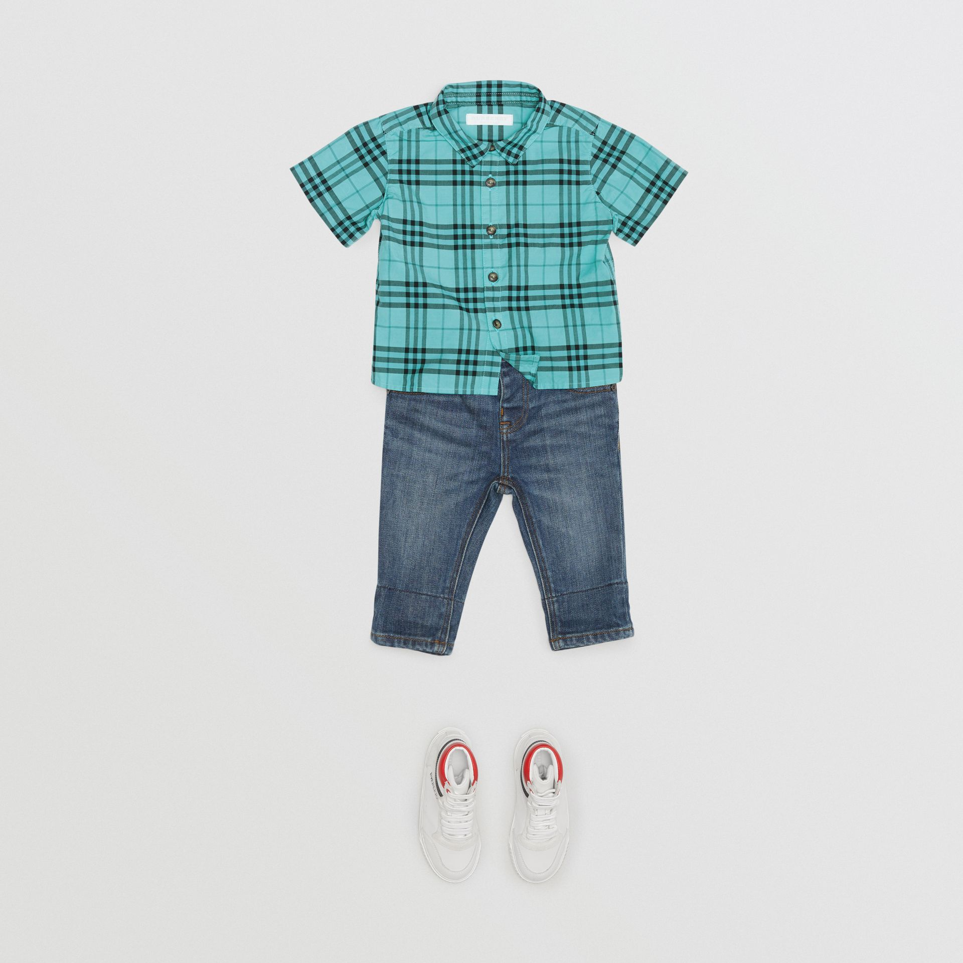 Short-sleeve Check Cotton Shirt in Light Mint - Children | Burberry United Kingdom - gallery image 2