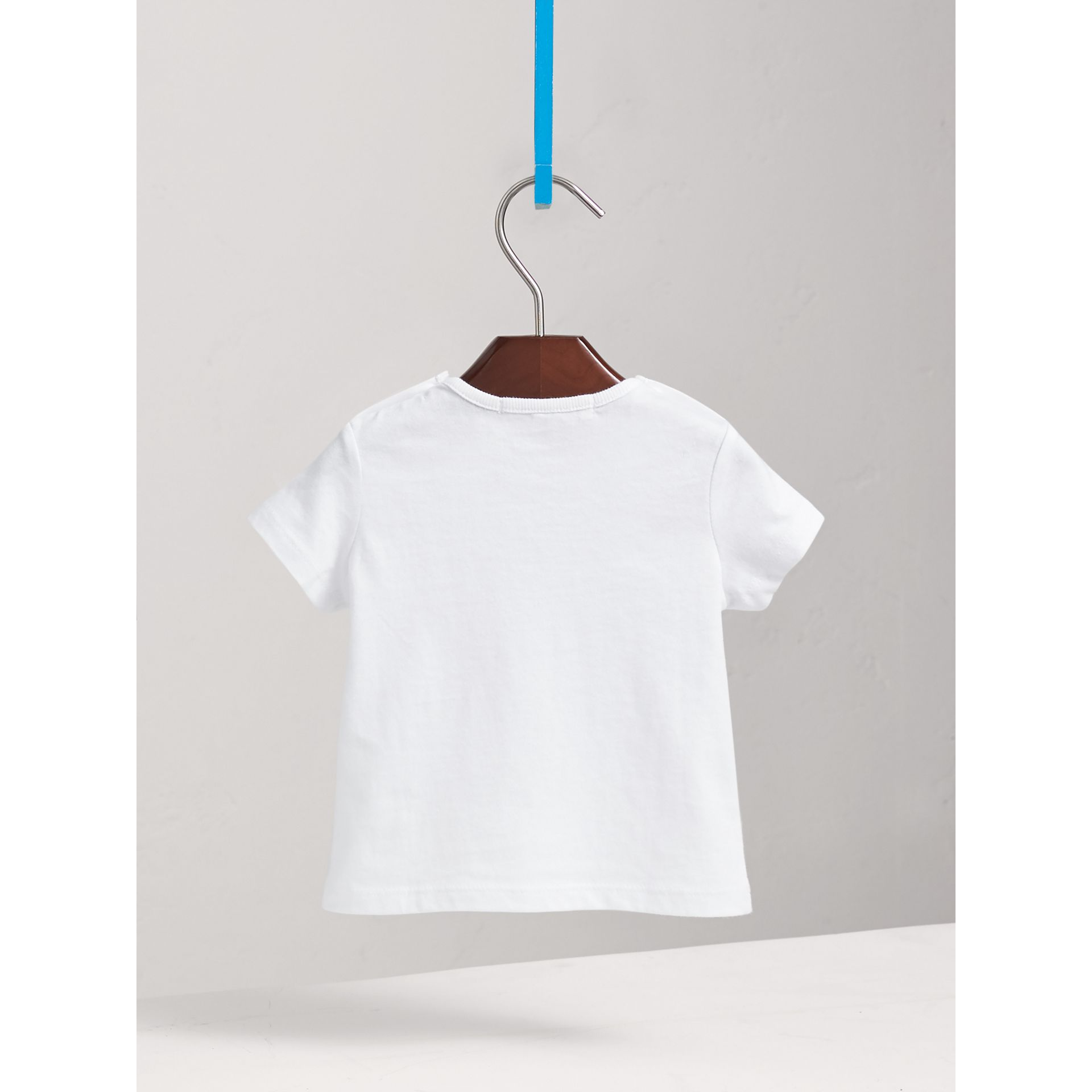 Check Pocket Cotton T-shirt in White | Burberry Australia - gallery image 3