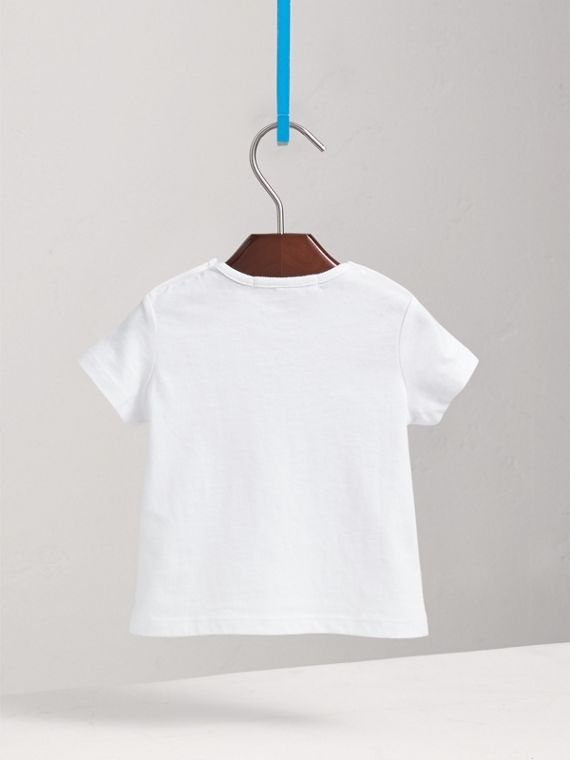 Check Pocket Cotton T-shirt in White | Burberry - cell image 3