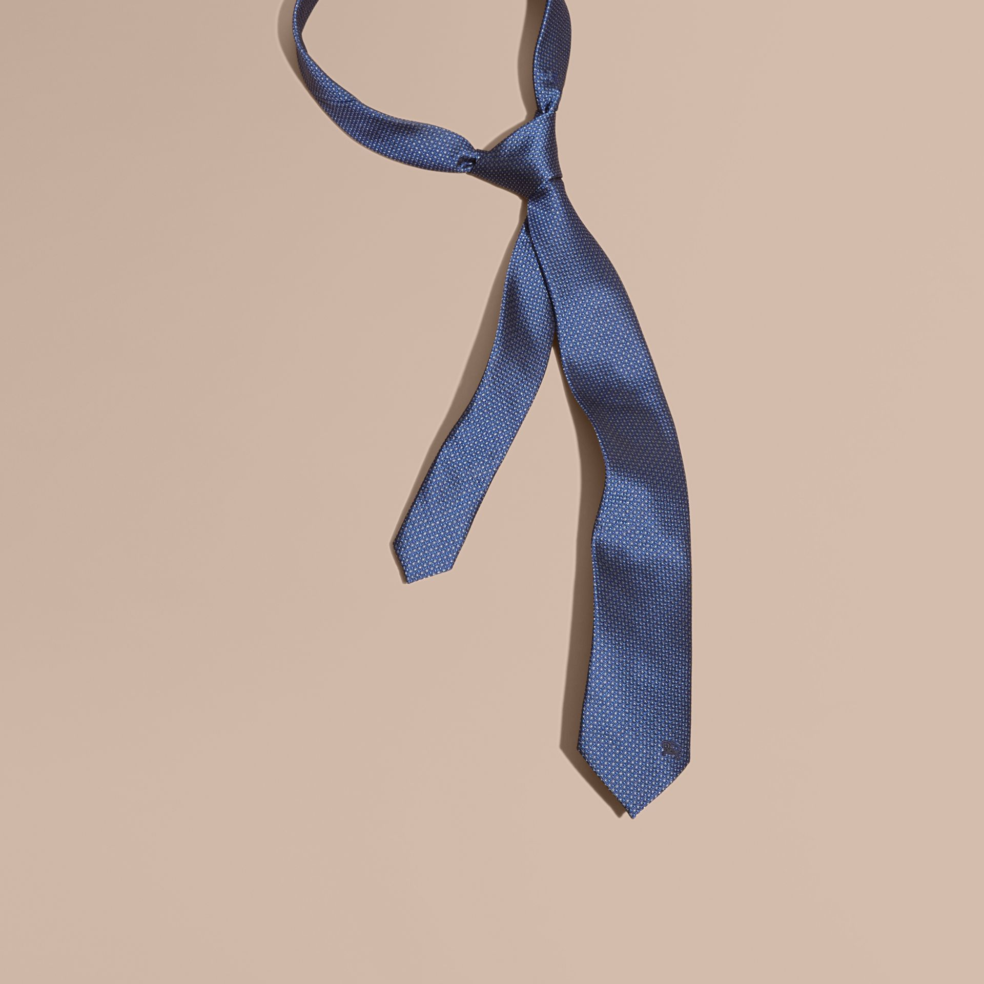 Modern Cut Patterned Silk Tie in Brilliant Blue - gallery image 1