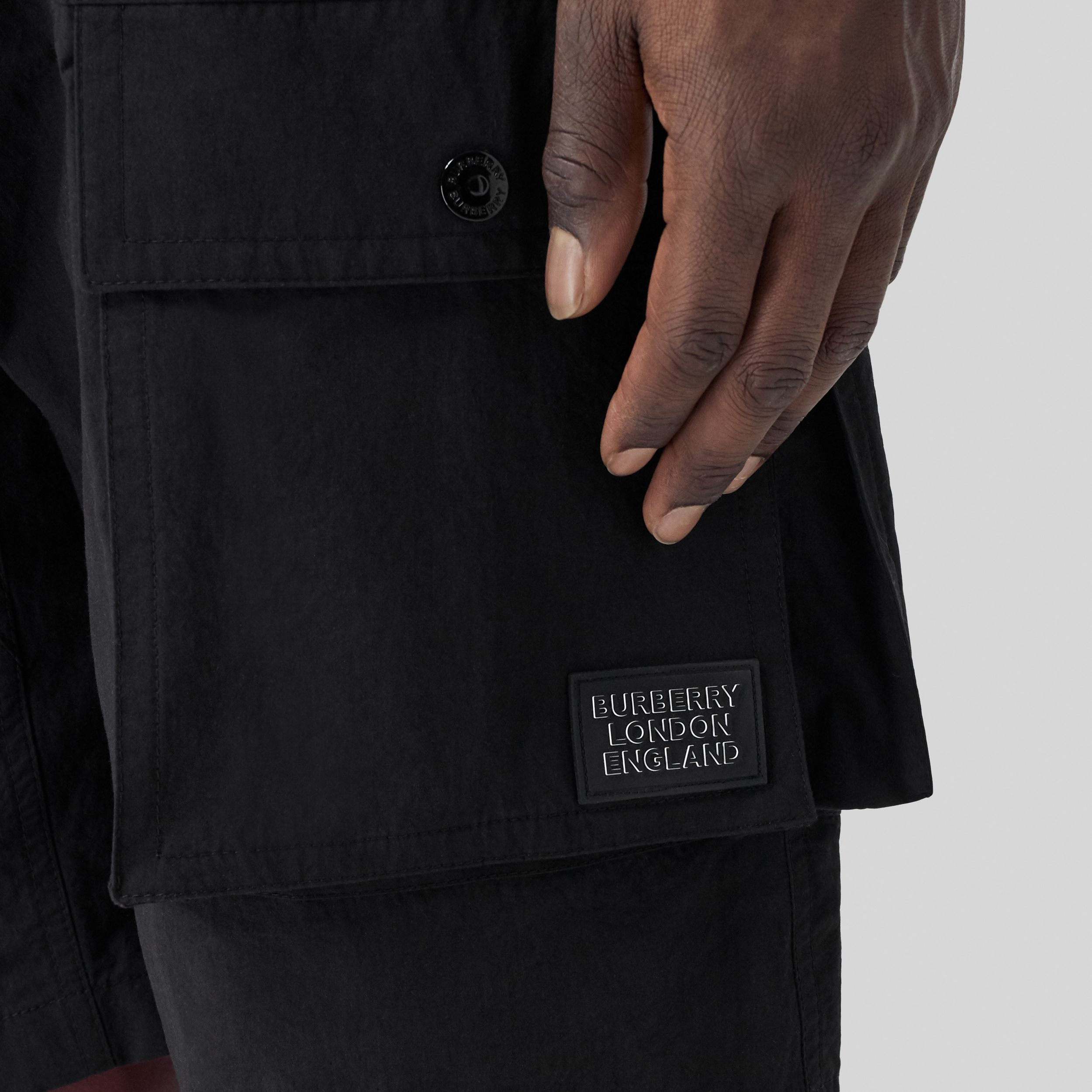 Logo Appliqué Cotton Blend Cargo Shorts in Black - Men | Burberry - 2