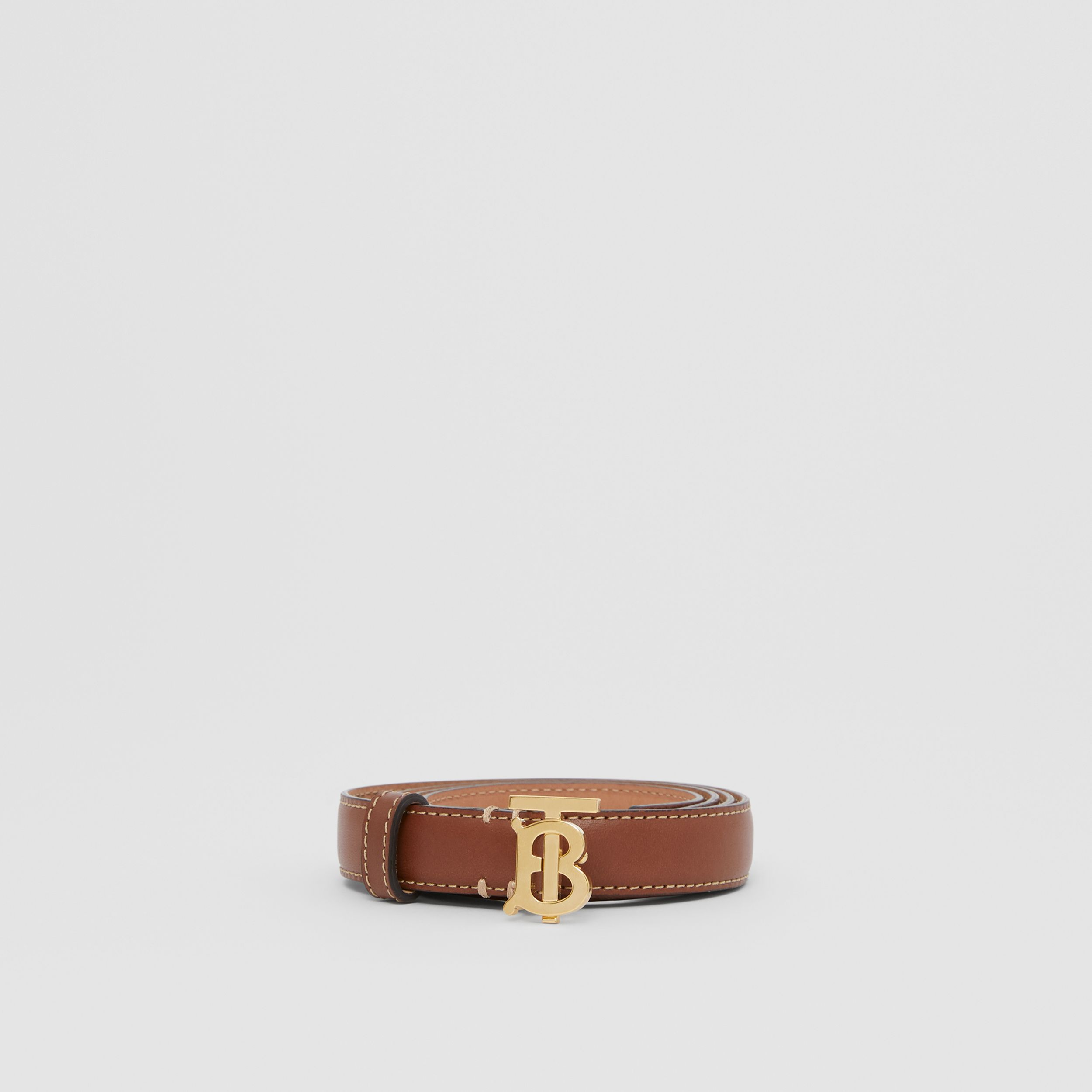 Monogram Motif Topstitched Leather Belt in Tan/light Gold - Women | Burberry - 3