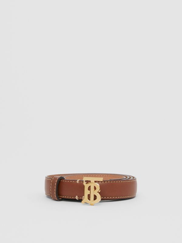 Monogram Motif Topstitched Leather Belt in Tan/light Gold - Women | Burberry United Kingdom - cell image 2