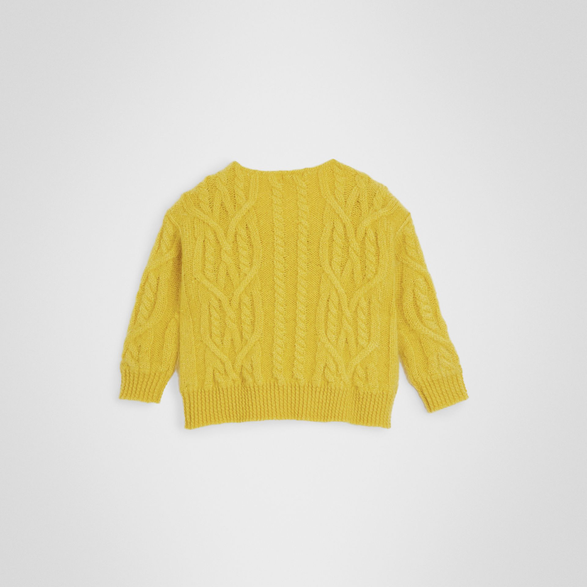 Cable Knit Mohair Wool Sweater in Bright Yellow | Burberry Canada - gallery image 3