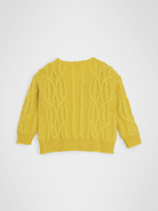 Cable Knit Mohair Wool Sweater in Bright Yellow | Burberry - cell image 3