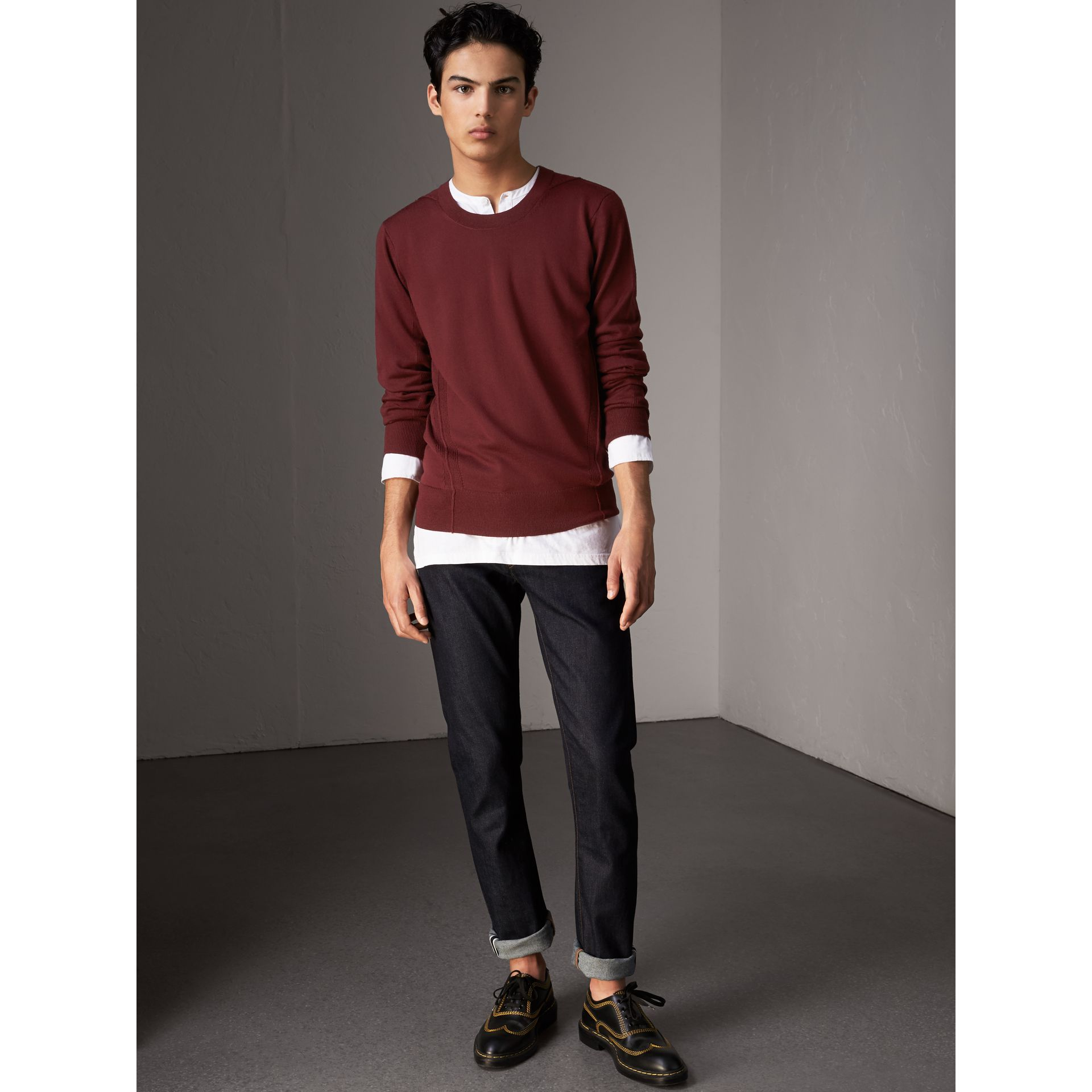 Check Detail Merino Wool Sweater in Burgundy - Men | Burberry - gallery image 4