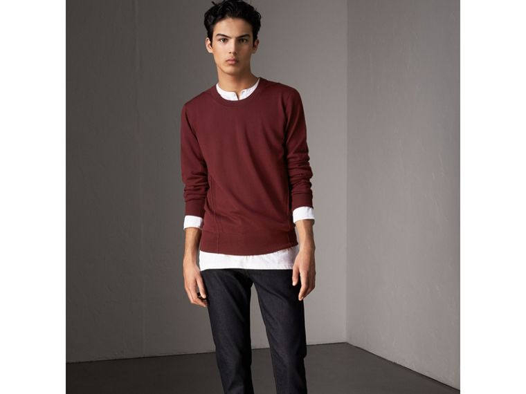 Check Detail Merino Wool Sweater in Burgundy - Men | Burberry - cell image 4