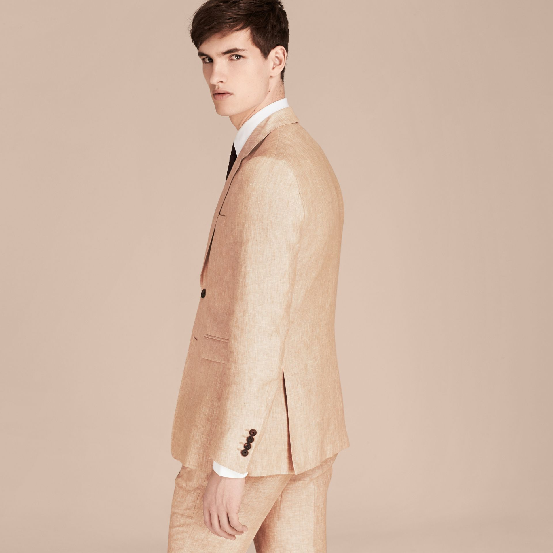 Pale stone Modern Fit Linen Jacket - gallery image 2