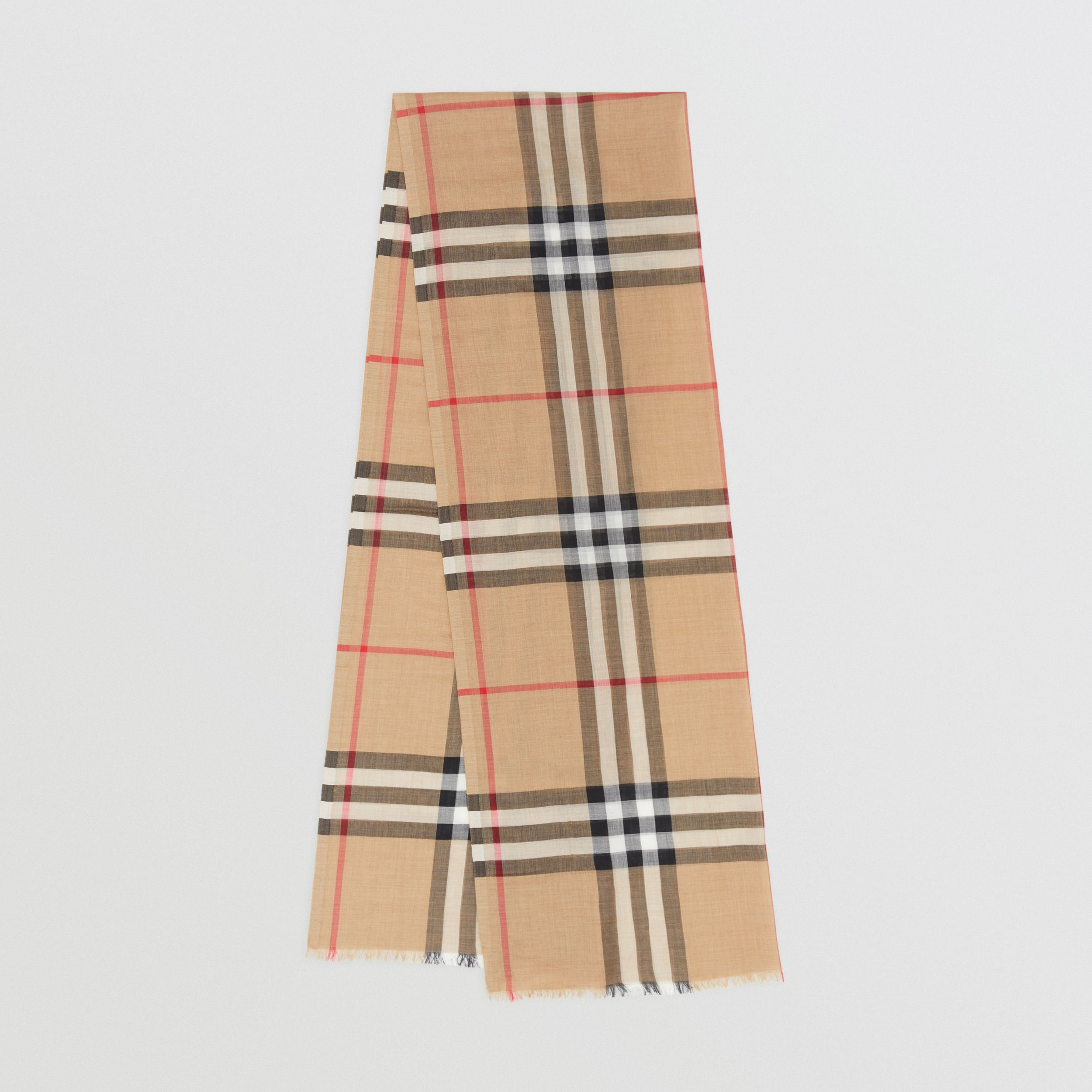 Lightweight Check Wool Silk Scarf in Archive Beige | Burberry - 1