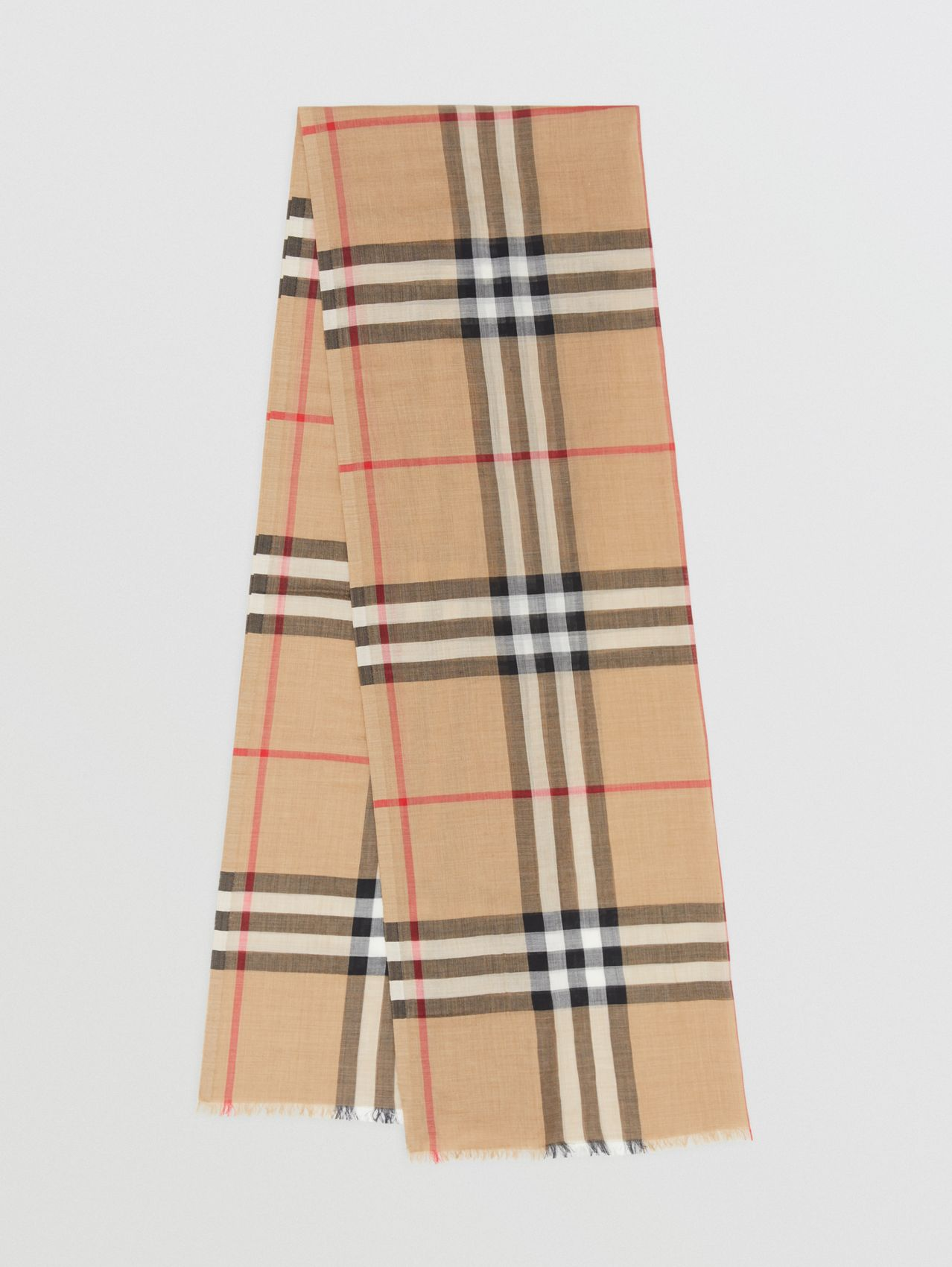 Lightweight Check Wool Silk Scarf (Archive Beige)