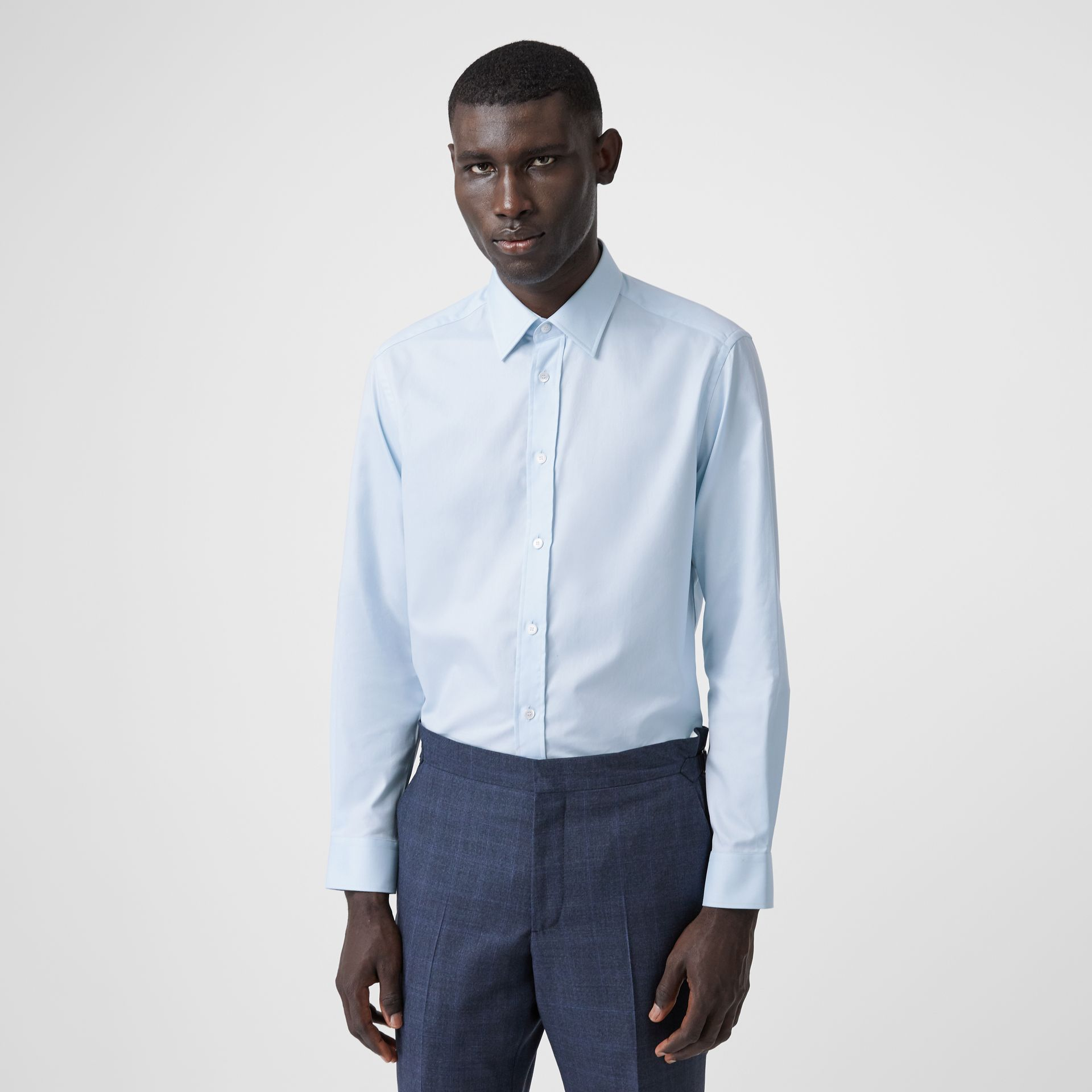 Classic Fit Monogram Motif Cotton Oxford Shirt in Pale Blue - Men | Burberry United Kingdom - gallery image 0