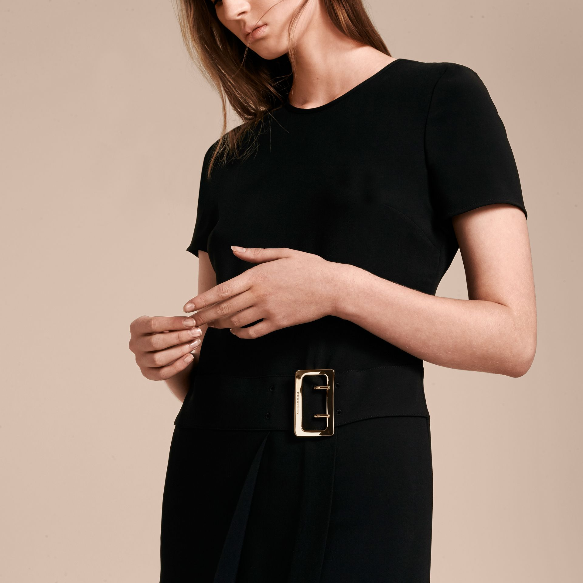 Buckle Detail Pleated Shift Dress in Black - gallery image 5