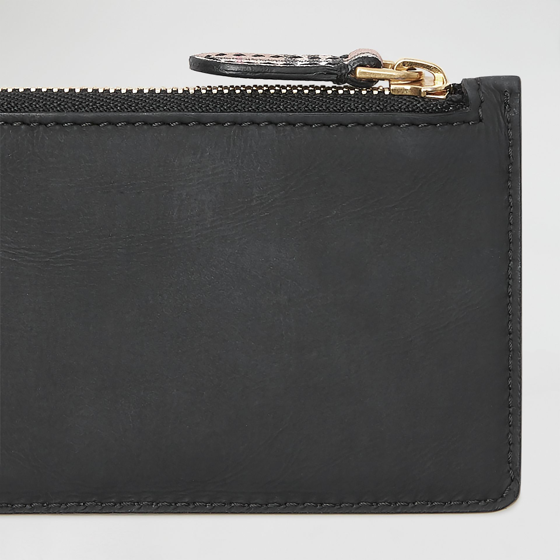 Small Scale Check and Suede Card Case in Black - Women | Burberry Australia - gallery image 1