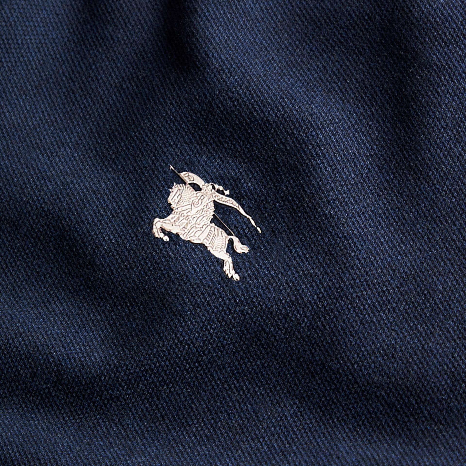 Navy mélange Polo in cotone piqué con dettaglio dal colore a contrasto Navy Mélange - immagine della galleria 2