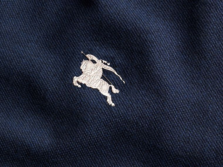 Navy melange Contrast Colour Detail Cotton Piqué Polo Shirt Navy Melange - cell image 1