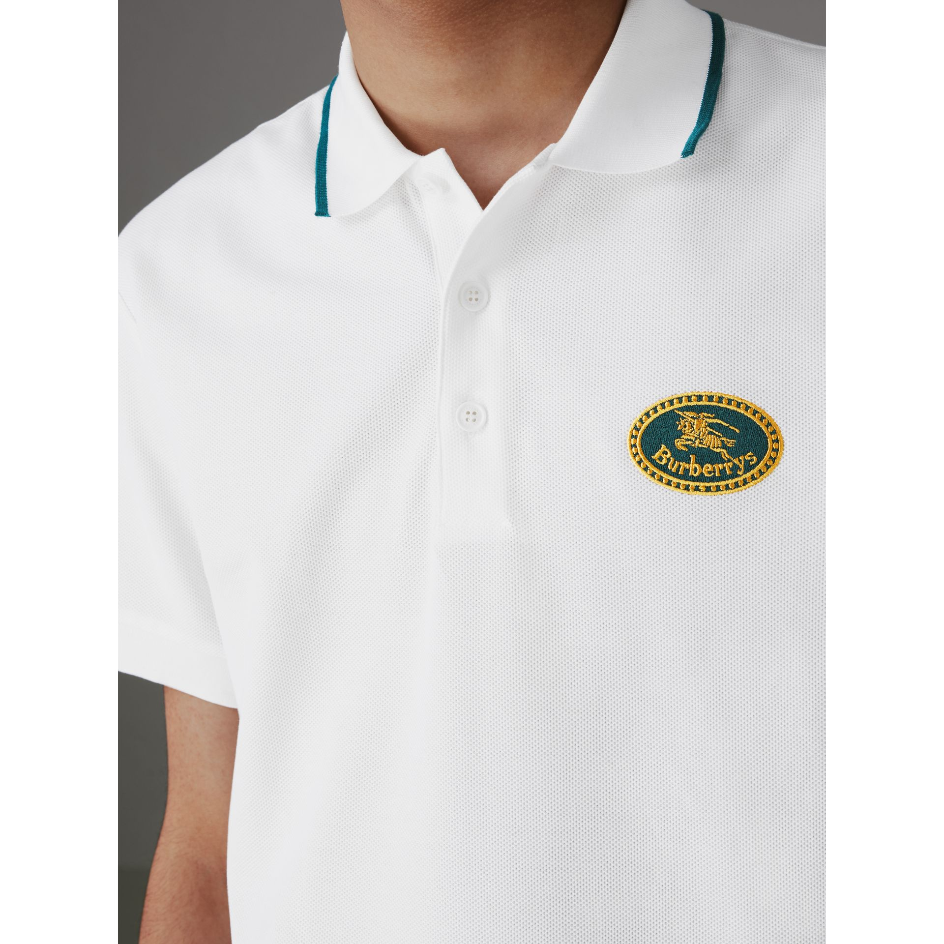 Archive Logo Cotton Piqué Polo Shirt in White - Men | Burberry - gallery image 1