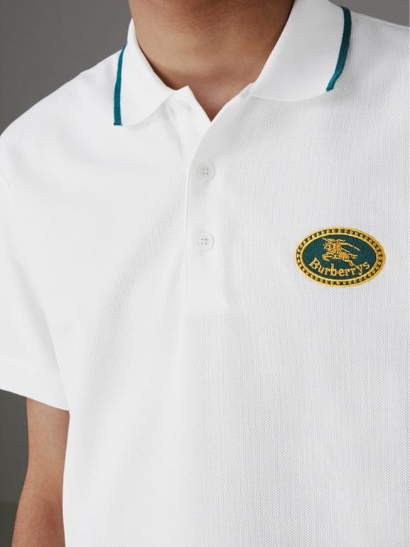 Archive Logo Cotton Piqué Polo Shirt in White - Men | Burberry - cell image 1