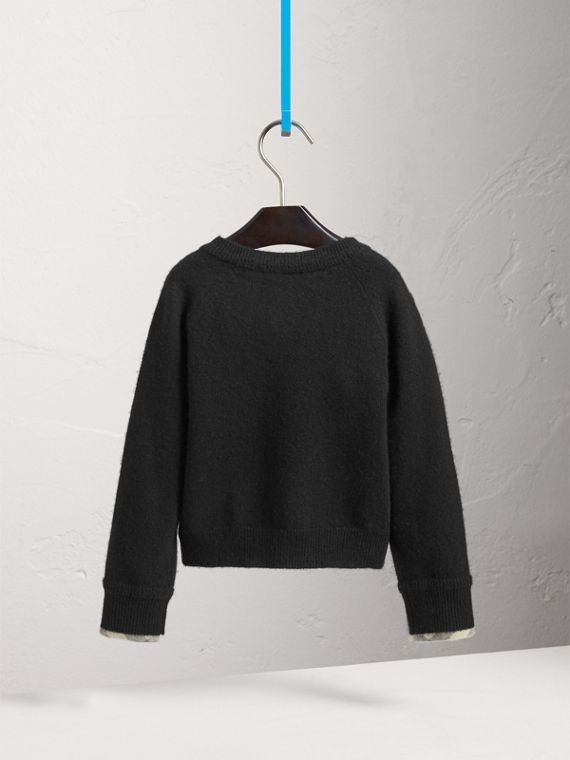 Check Cuff Cashmere Cardigan in Black - Girl | Burberry - cell image 3