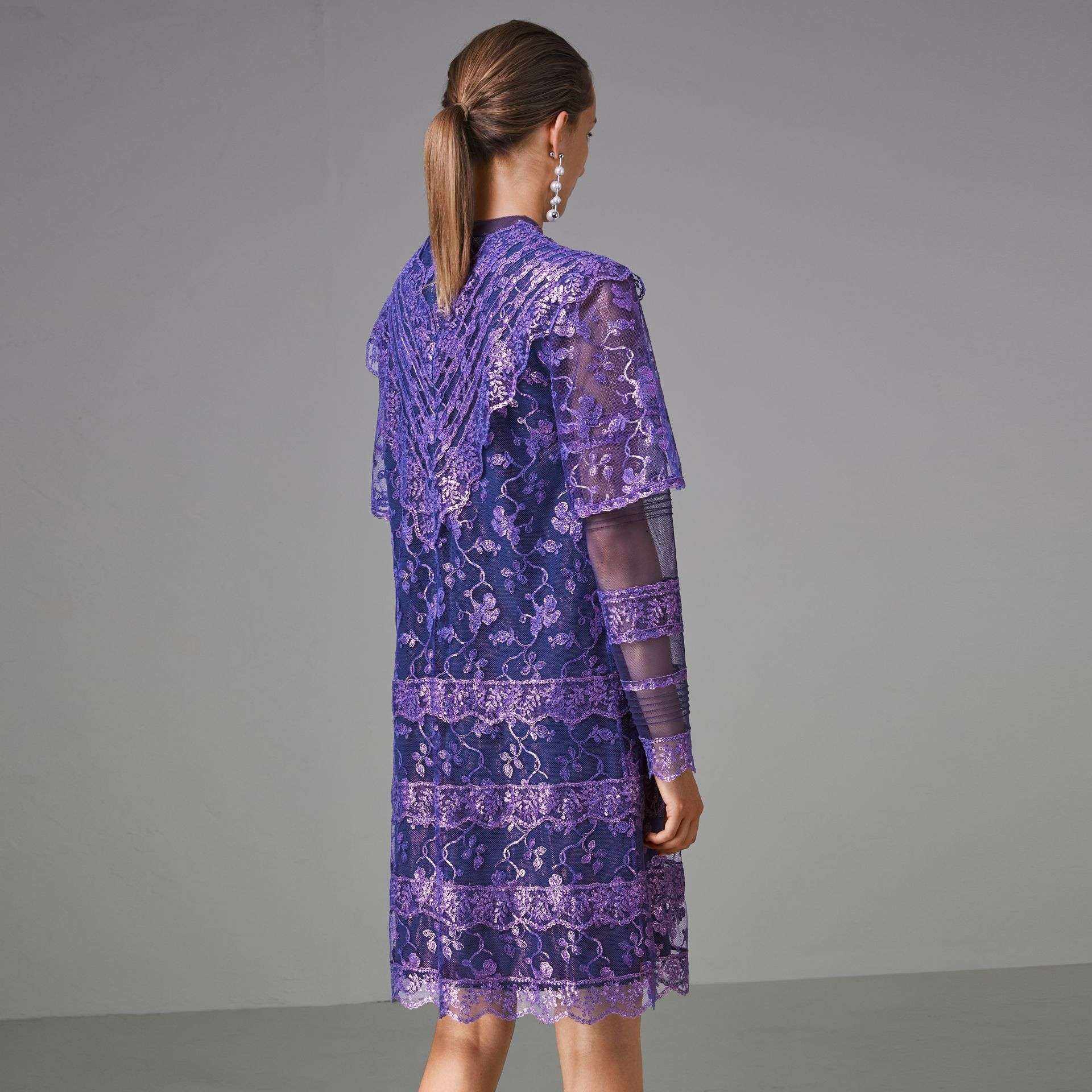 Laminated Lace Cape Sleeve Dress in Bright Purple - Women | Burberry - gallery image 2