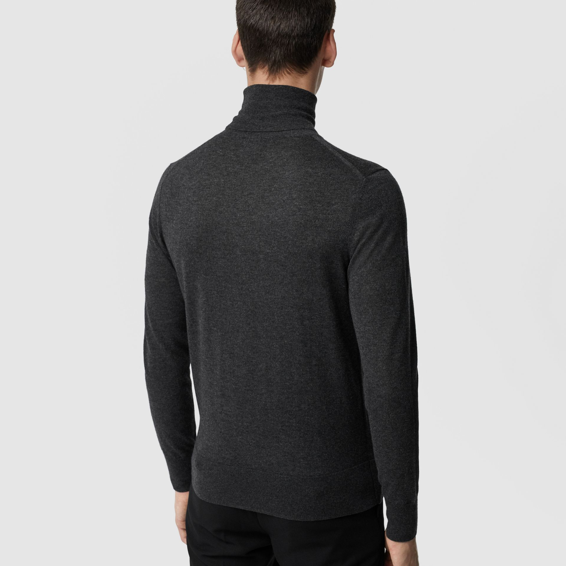 Cashmere Silk Roll-neck Sweater in Charcoal - Men | Burberry United Kingdom - gallery image 2