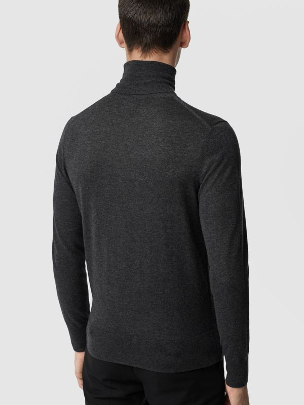 Cashmere Silk Roll-neck Sweater in Charcoal - Men | Burberry - cell image 2