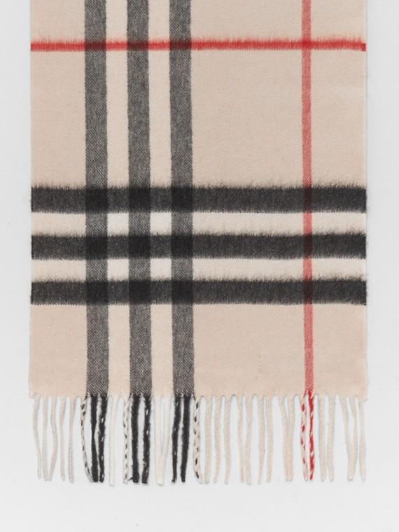 Sciarpa classica in cashmere con motivo tartan (Bianco)