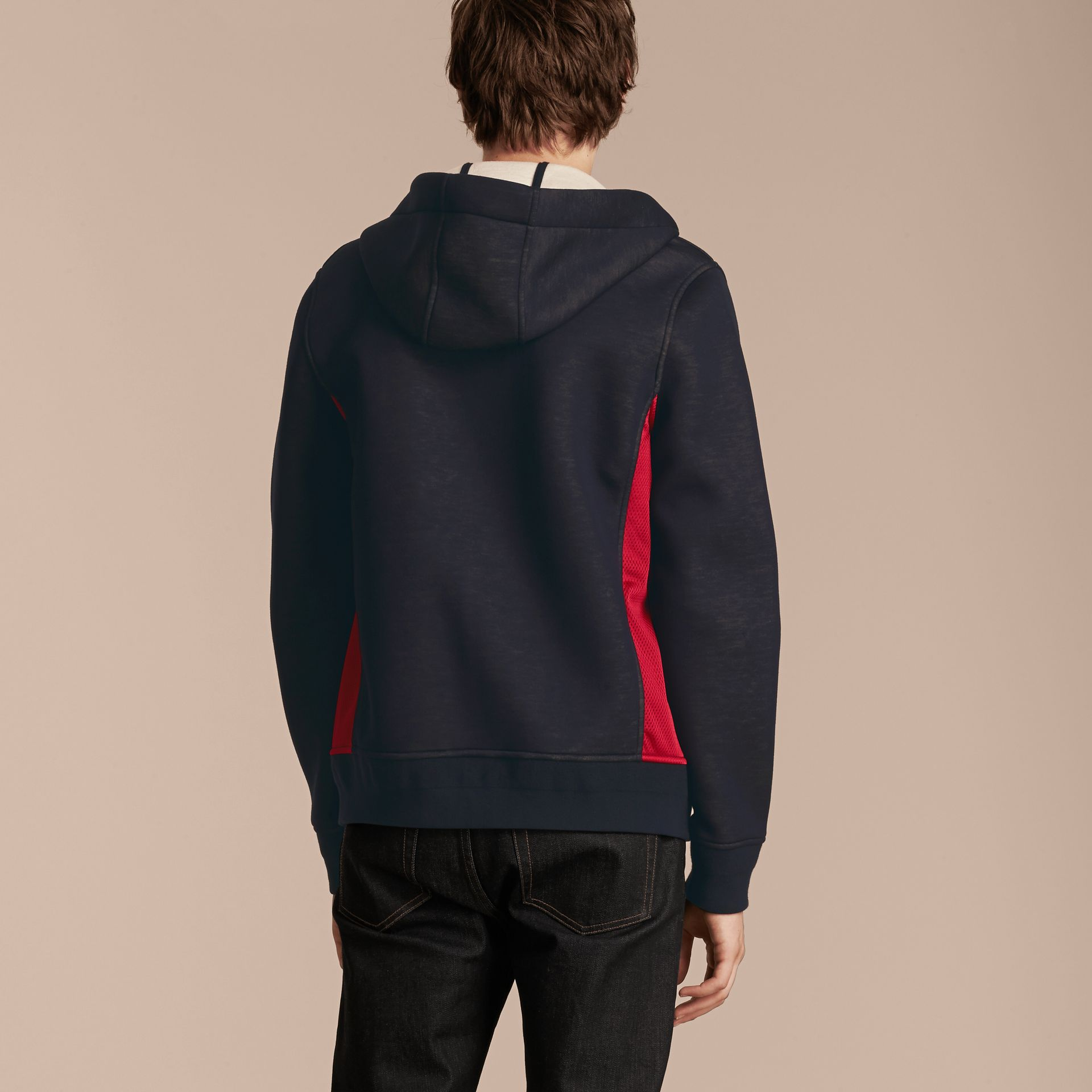 Two-tone Jersey Hooded Top Navy - gallery image 3