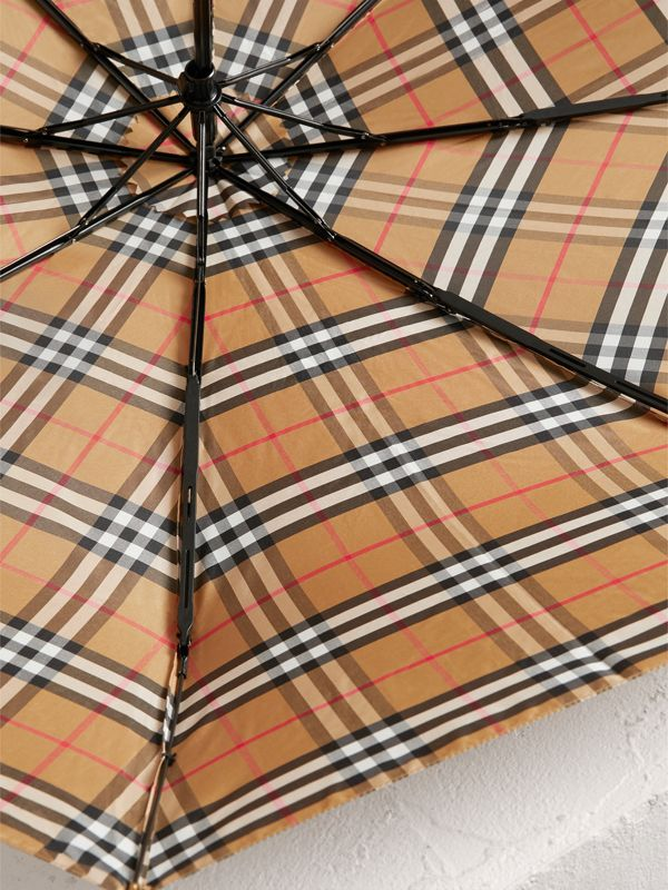 Vintage Check Folding Umbrella in Antique Yellow/black | Burberry - cell image 3