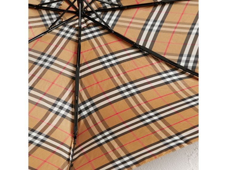 Vintage Check Folding Umbrella in Antique Yellow/black | Burberry Canada - cell image 2
