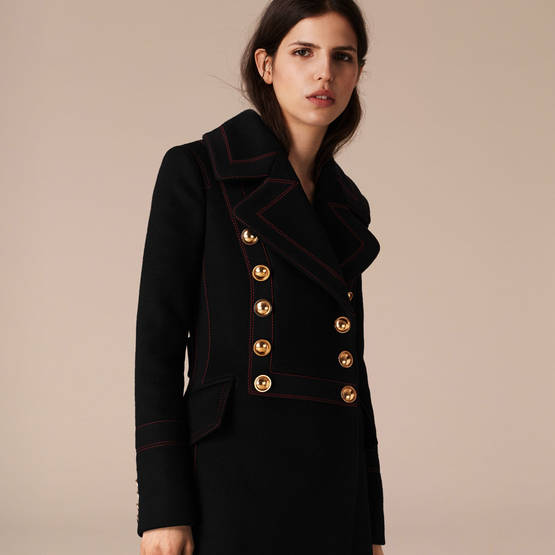 Black Wool Cashmere Military Coat - gallery image 3
