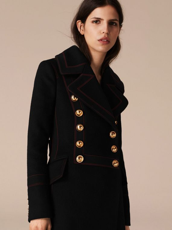 Black Wool Cashmere Military Coat - cell image 2