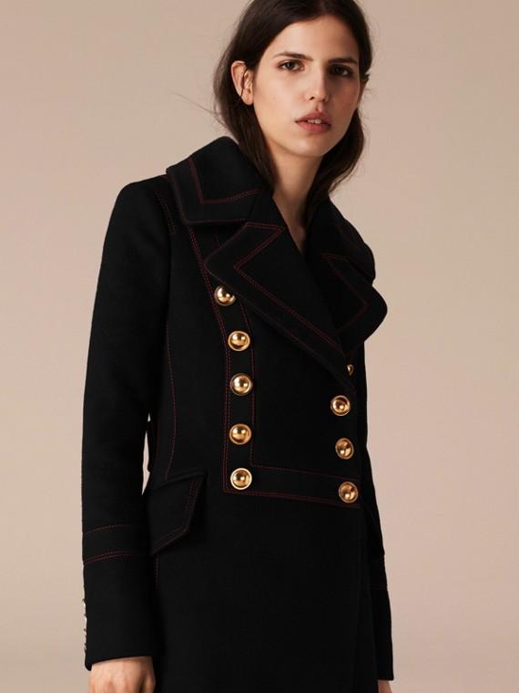 Noir Manteau militaire en laine et cachemire - cell image 2