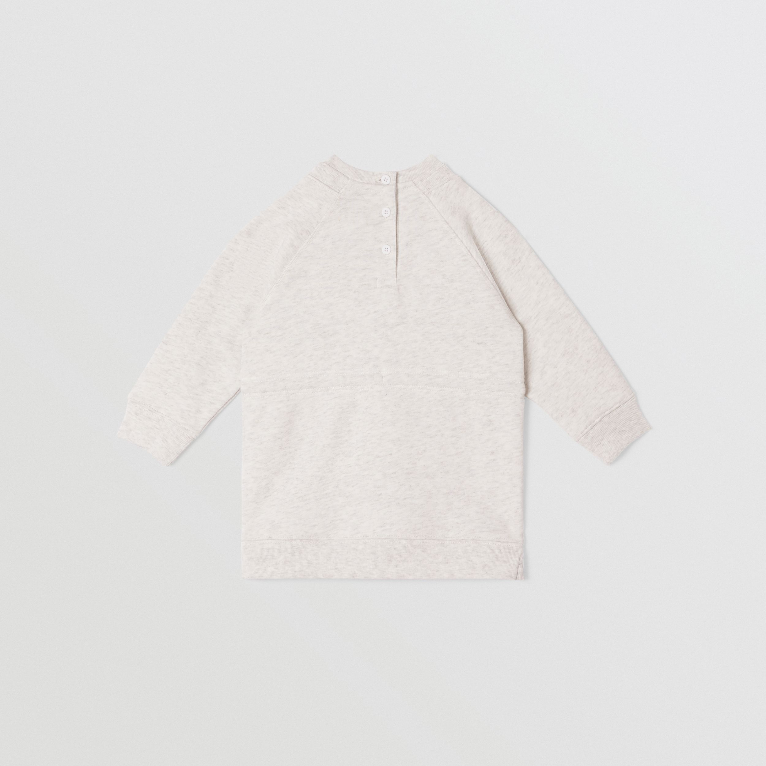 Logo Tape Cotton Sweater Dress in White Melange - Children | Burberry United States - 4