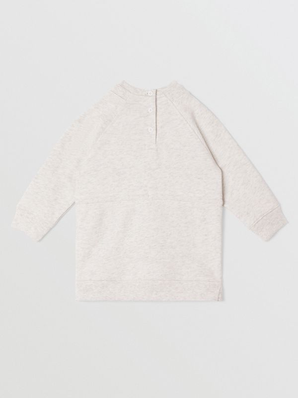 Logo Tape Cotton Sweater Dress in White Melange - Children | Burberry United Kingdom - cell image 3