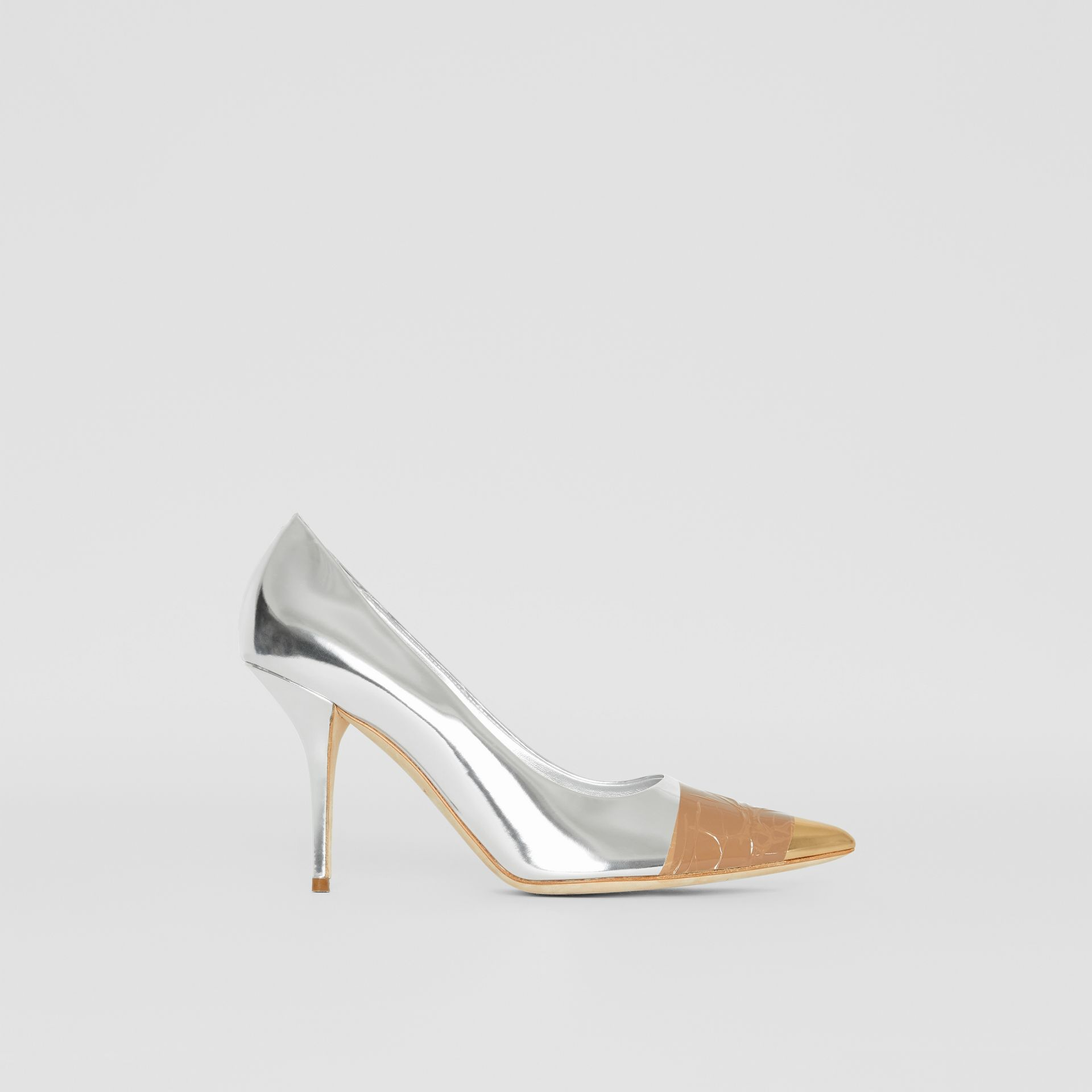 Tape Detail Mirrored Leather Pumps in Silver/gold - Women | Burberry - gallery image 5