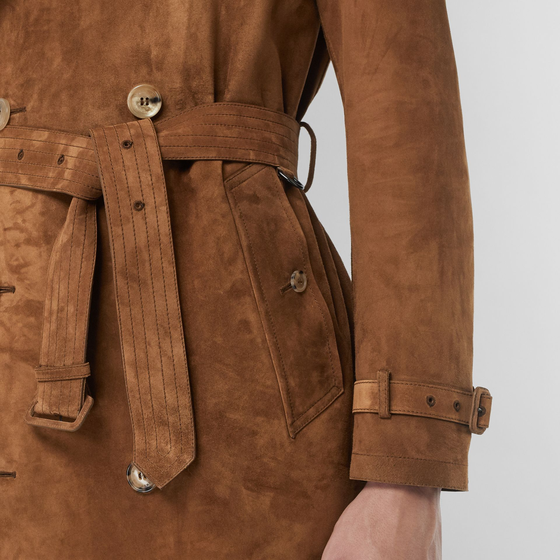 Suede Trench Coat in Sepia Brown - Men | Burberry - gallery image 1