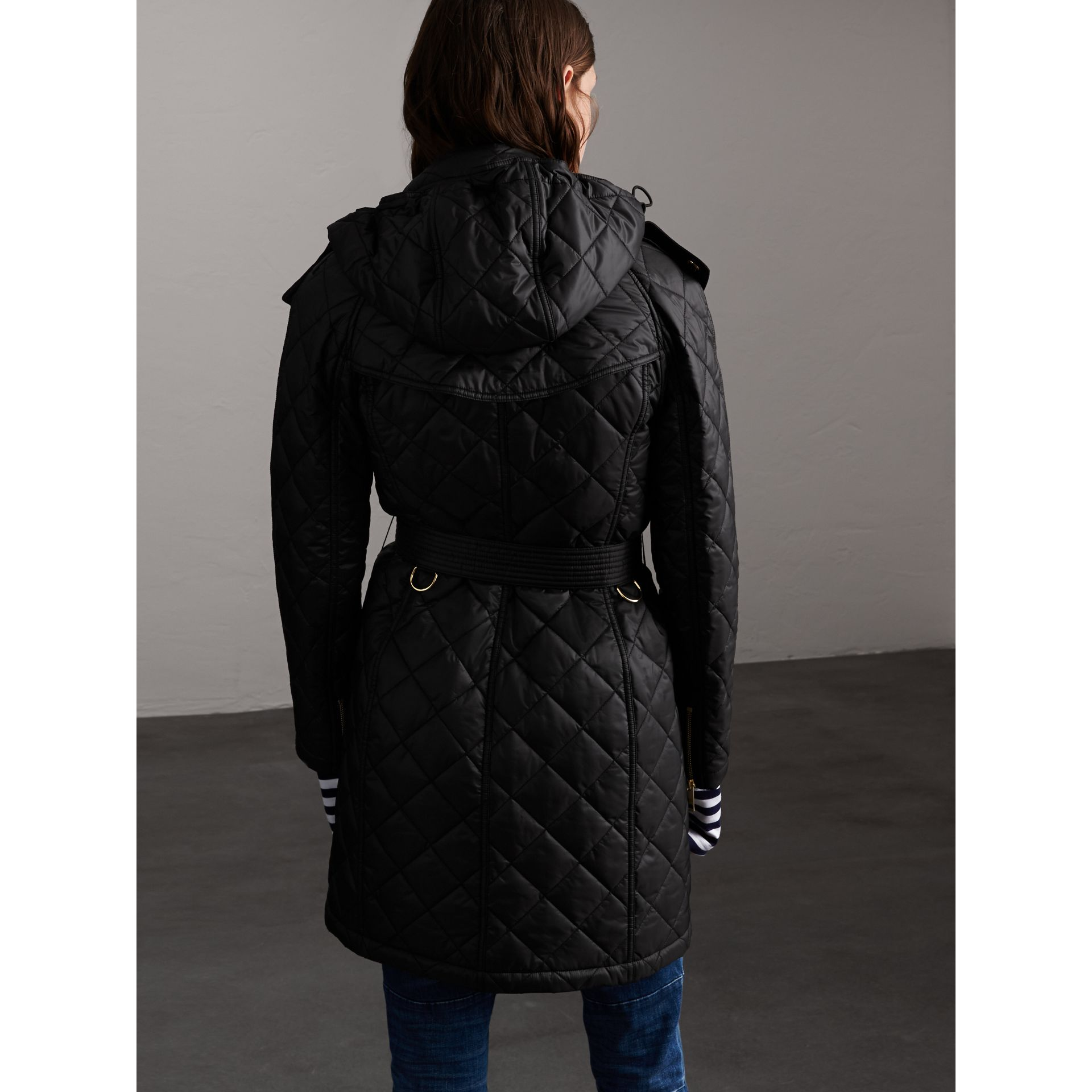 Detachable Hood Quilted Showerproof Parka in Black - Women | Burberry - gallery image 2